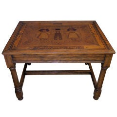 An  Alsatian Folk Art Wooden Panel Now Mounted as a Table