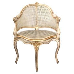 A Shapely French Louis XV Style Pale Grey Pinted Corner Chair