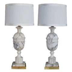 A Large Pair of Italian Neoclassical Style Carrera Marble Lamps