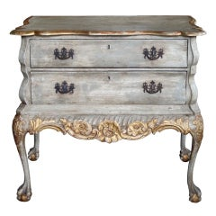 A Shapely Dutch Rococo Style Grey-Green Painted 2-Drawer Chest