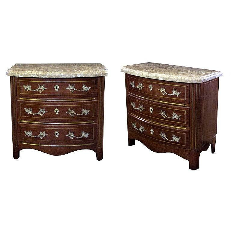 A Handsome Pair of Danish Empire Style Mahogany 3-Drawer Marble Topped Bow-Front Chests 1