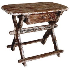 A Rustic Danish Baroque Distressed Pine Single-Drawer Work Table