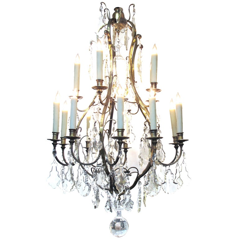 A Large-Scaled and Good Quality French Louis XVI Style Gilt Bronze Basket-Form 15-Light Chandelier