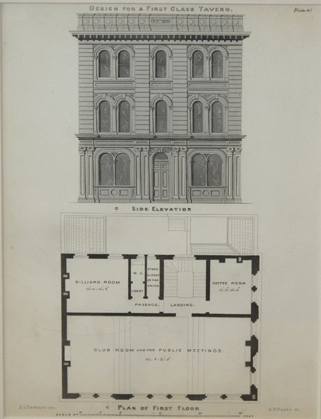 A handsome pair of American architectural engravings depicting taverns; each depicting a 3-story building with accompanying floor plans; each titled 'Design for a First Class Tavern'.