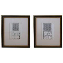 Pair of American Architecural Engravings Depicting Taverns