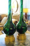 Sleek Pr of Murano Emerald Green & Cobalt Blue Bottle-Form Lamps thumbnail 6