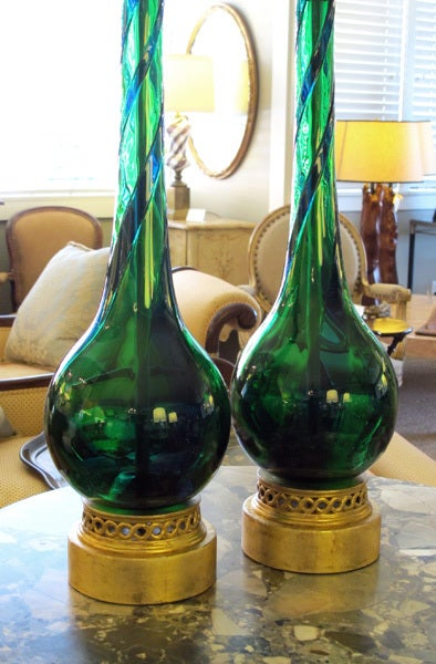 Sleek Pr of Murano Emerald Green & Cobalt Blue Bottle-Form Lamps image 6