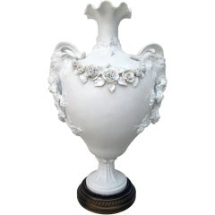 Exquisite English Parian Marble and Bronze Urn with Garland