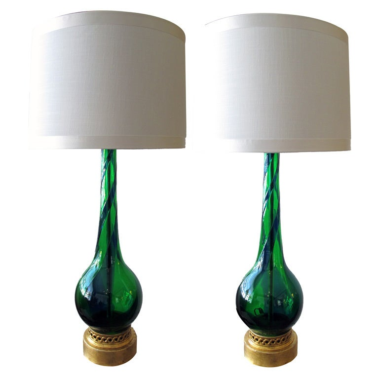 Sleek Pr of Murano Emerald Green & Cobalt Blue Bottle-Form Lamps