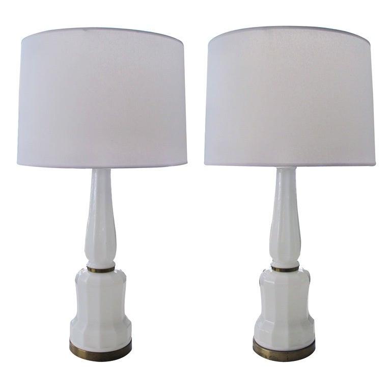 Fine Pair of Danish White Opaline Lamps by Bing & Groendahl Heiberg