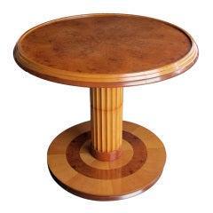 A Chic French Art Deco Amboyna & Birch Wood Circular Side Table