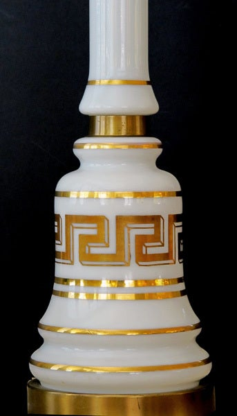 Stylish Pair of American Baluster-Form White Opaline Glass Lamps In Excellent Condition For Sale In San Francisco, CA