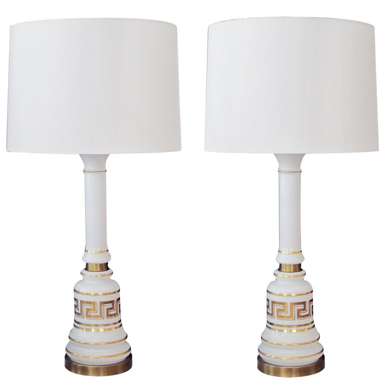 Stylish Pair of American Baluster-Form White Opaline Glass Lamps For Sale