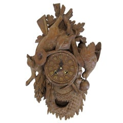 A Well-Carved German Black Forest Hunting Trophy Clock