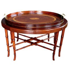 A Handsome English George III Style Mahogany Oval Tray Table