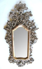 Exuberantly Carved Venetian Rococo Silver & Gold Giltwood Mirror image 2