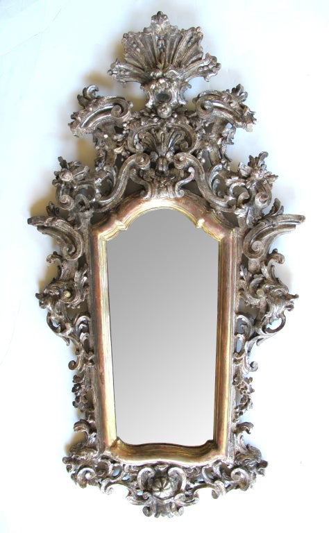 Exuberantly Carved Venetian Rococo Silver & Gold Giltwood Mirror 2