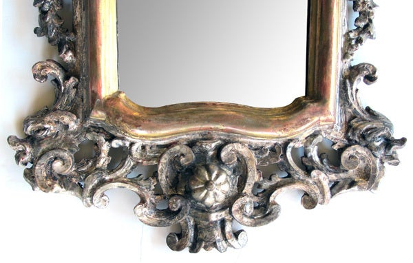 Exuberantly Carved Venetian Rococo Silver & Gold Giltwood Mirror 5