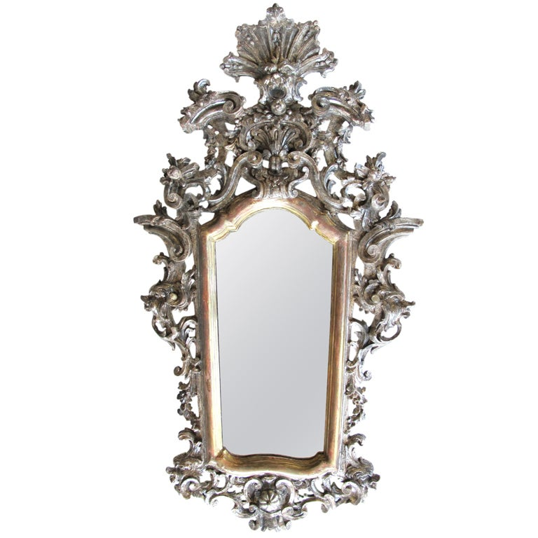 Exuberantly Carved Venetian Rococo Silver & Gold Giltwood Mirror