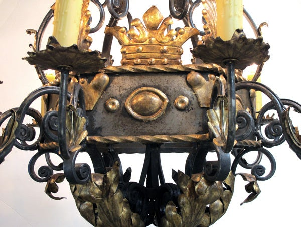 A Massive and Baronial Belgian Baroque Style Iron Chandelier image 2