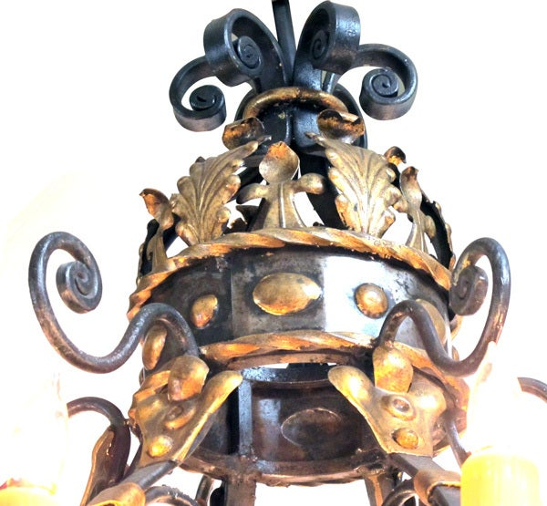 A Massive and Baronial Belgian Baroque Style Iron Chandelier image 3