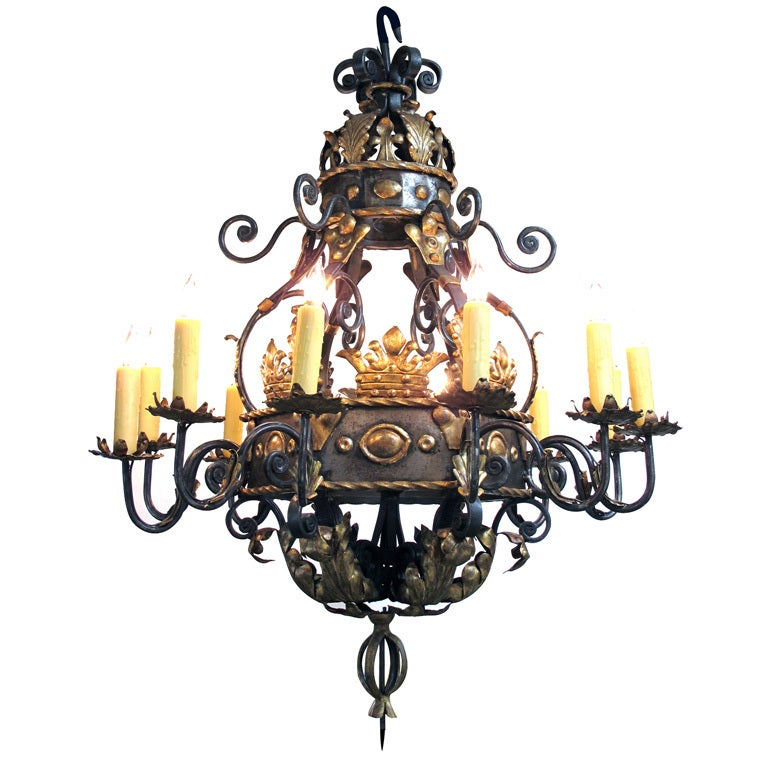 A Massive and Baronial Belgian Baroque Style Iron Chandelier