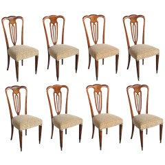 Stylish Set of 8 Italian Pear Wood Shield Back  Dining Chairs by Erno Fabry