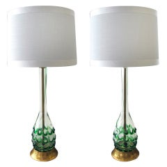A Pair of Murano Clear Bottle Form Lamps w/Raised Green Swirls