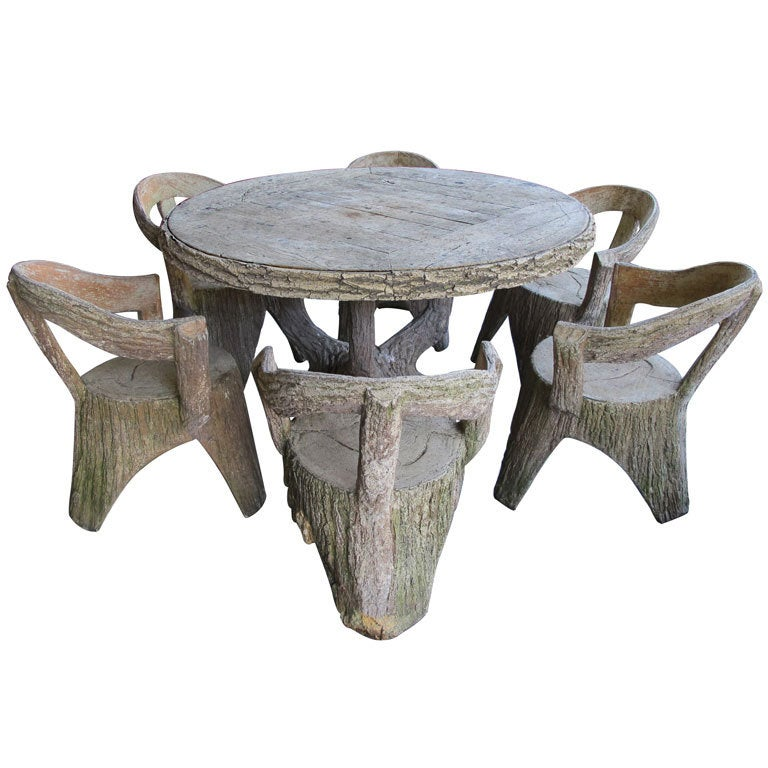 An Impressively Large French Faux Bois Concrete Garden Set At 1stdibs