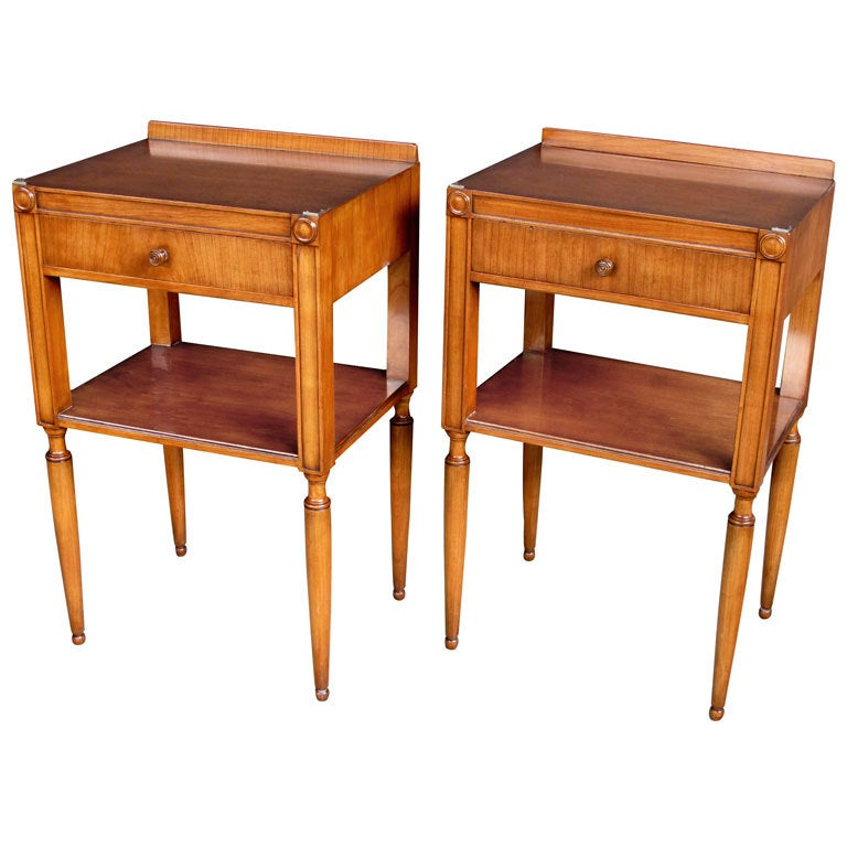 A Tailored Pair Of English Mid Century Cherrywood Bedside