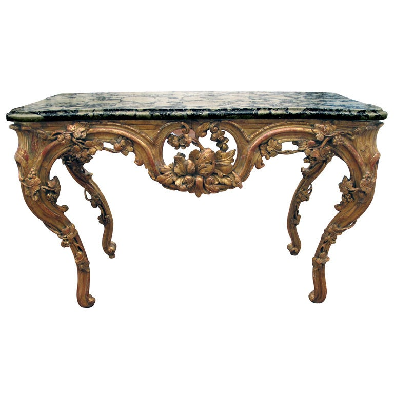 A Finely Carved Venetian Rococo Giltwood Console with Marble Top