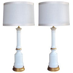 Tailored Pair of American 1950's White Milk Glass Columnar Lamps