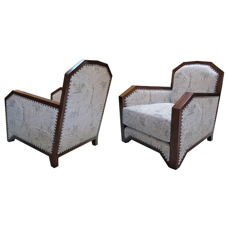 A Stylish Pair of French Art Deco Club Chairs w Mahogany Frames