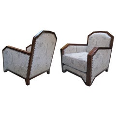 A Stylish Pair of French Art Deco Club Chairs w Mahogany Frames