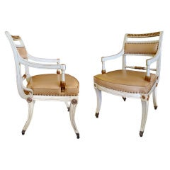 Stylish Pair of 1940's Hollywood Regency Painted Klismos Chairs