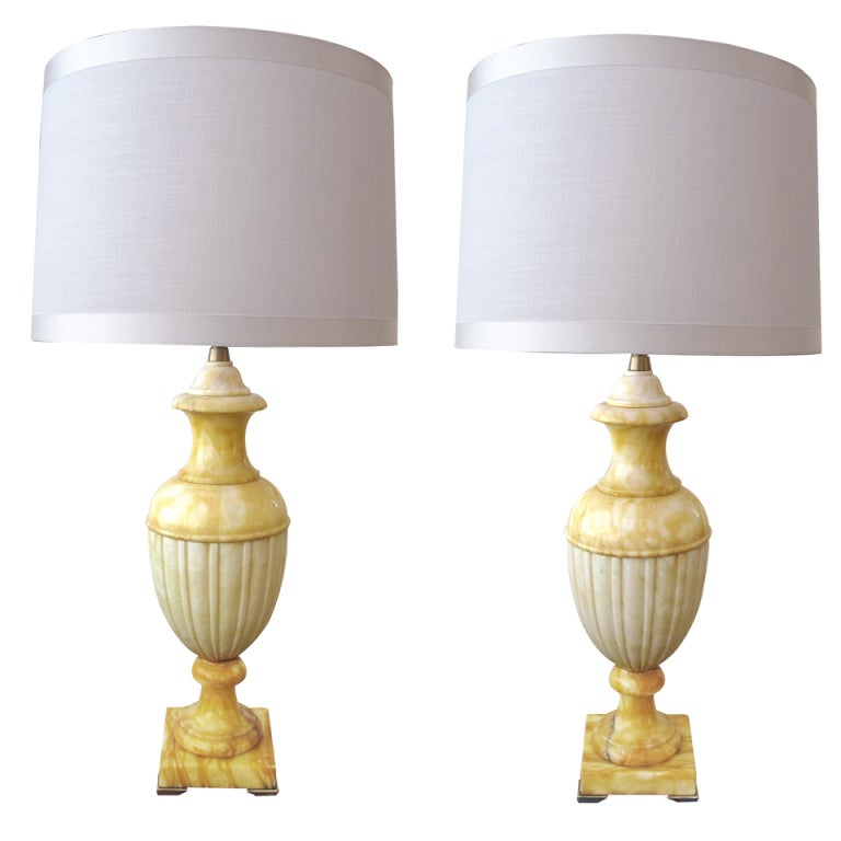 A Large-Scaled Pair of Italian Urn-Form Alabaster Lamps; Marbro Lamp Co.