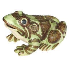 An Exceptionally Large American 1930's Hand-Painted Ceramic Frog by Brush McCoy