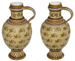 Good Quality Pair of German Mettlach Pottery Ewers with Impressed Maker's Mark