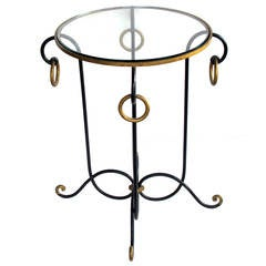 French Dark Green Painted Iron Circular Side Table by René Prou
