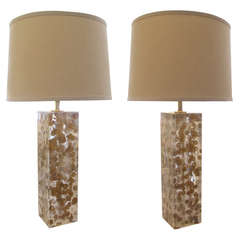 Stylish Pair of American Square-Form Lucite Lamps with Copper Inclusions