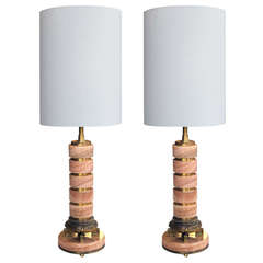 Pair of French Art Deco Rosso-Pistalo Marble Columnar Lamps