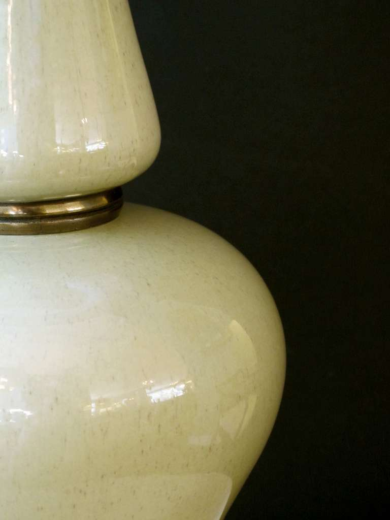 Pair of American Celadon Green Ceramic Lamps by Frederick Cooper, Chicago In Excellent Condition For Sale In San Francisco, CA