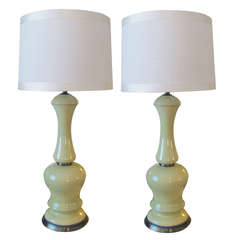 Pair of American Celadon Green Ceramic Lamps by Frederick Cooper, Chicago