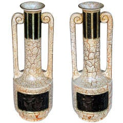A Stylish Pair of English Art Deco Double-Handled Crackle-Glaze Earthenware Urns