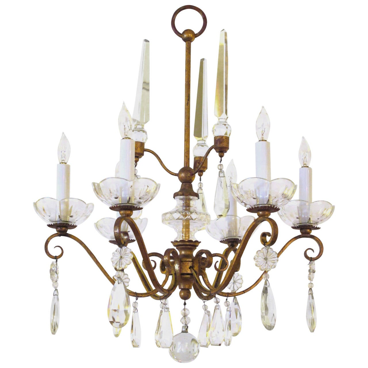 Vintage 1940s italian green and gilt chandelier with colorful elegant french 1940s gilt metal six light chandelier with crystal pendants aloadofball Image collections