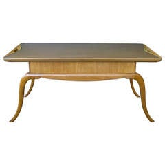 Chic Italian Midcentury Pearwood Cocktail Table with Splayed Legs