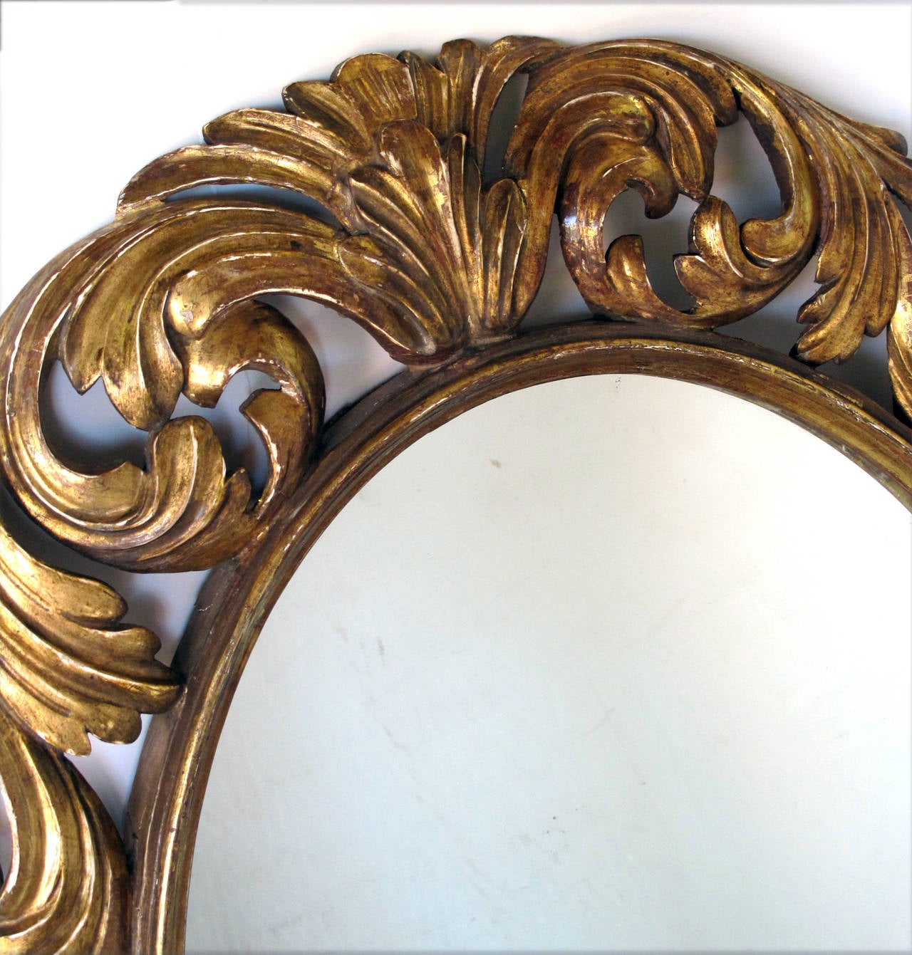 Well carved italian baroque style oval giltwood mirror for for Baroque mirror