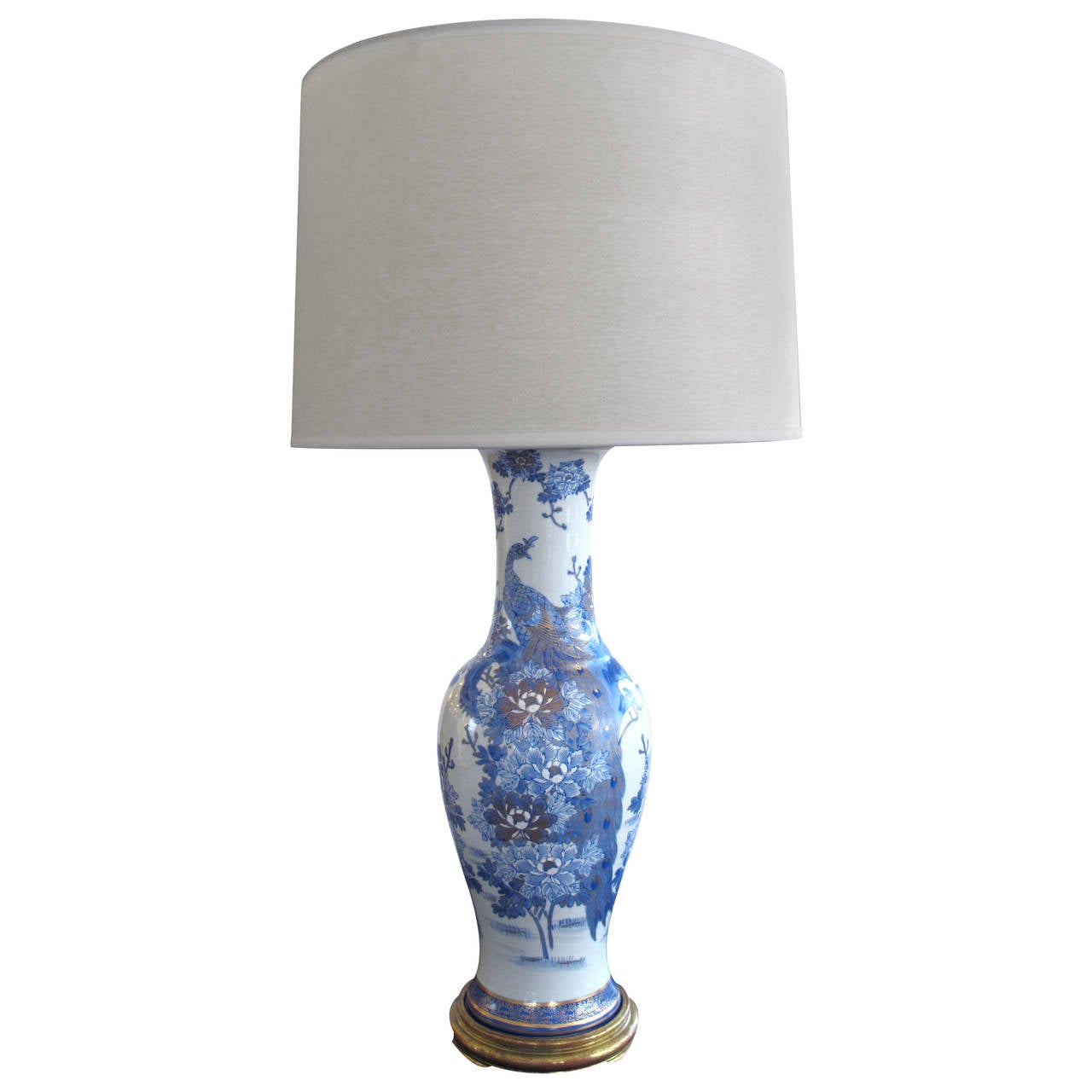 chinese blue and white painted and gilt porcelain lamp at. Black Bedroom Furniture Sets. Home Design Ideas
