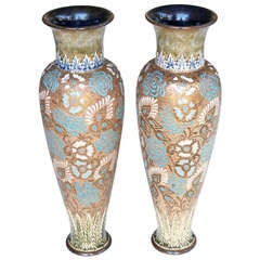 A Tall Pair of English Royal Doulton Enameled Slater's Patent Stoneware Vases