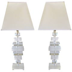Tall Pair of American 1970s Stacked Lucite Lamps